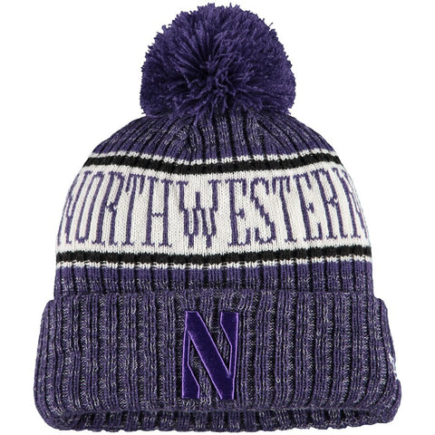 Northwestern Wildcats New Era Sport Knit Hat with Pom - Purple