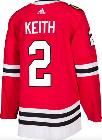 Men's Duncan Keith Chicago Blackhawks Home Red Adidas Authentic Jersey (updated collar)