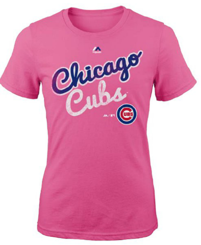 "Girls Youth Chicago Cubs Majestic Pink Girls ""Kiss Cam"" Tee"