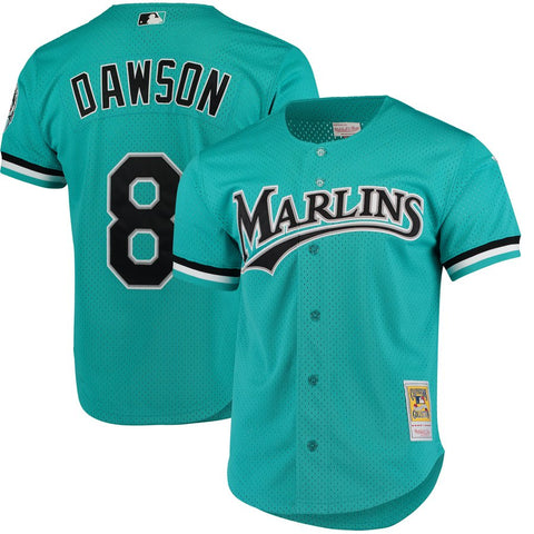 Men's Florida Marlins Andre Dawson 1995 Mitchell & Ness Teal Fashion Cooperstown Collection Mesh Batting Practice Jersey