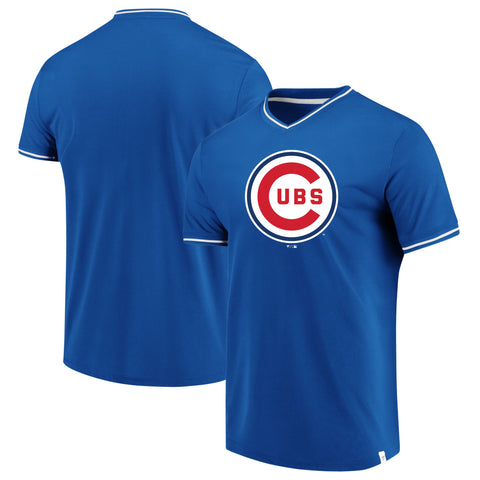 Men's Chicago Cubs Fanatics Branded Royal/White True Classics V-Neck T-Shirt