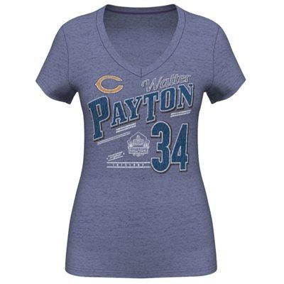 Womens Chicago Bears Walter Payton Hall Of Fame Royal V Neck T-Shirt