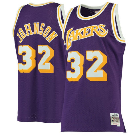 Men's Los Angeles Lakers Magic Johnson Mitchell & Ness Purple 1984-85 Hardwood Classics Swingman Jersey
