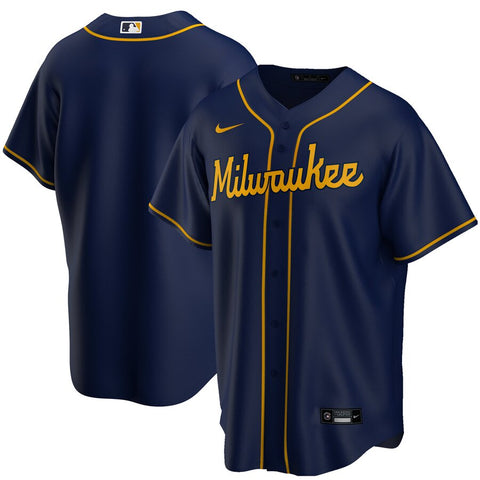 Men's Milwaukee Brewers Nike Navy Alternate Replica Team Jersey