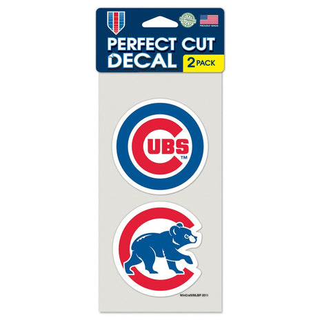 "CHICAGO CUBS Perfect Cut Decal Set Of Two 4"" x 4"""