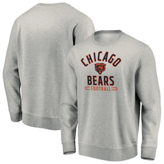 Men's Chicago Bears NFL Fanatics Branded Steel Heather Gray Team Arc Stack Crew Neck Sweatshirt