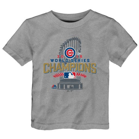 Child Chicago Cubs Majestic Heathered Gray 2016 World Series Champions Locker Room T-shirt