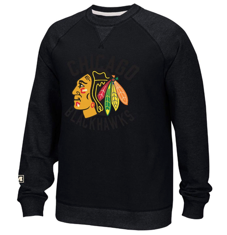 Men's Chicago Blackhawks CCM Black Fleece Crew Neck Sweatshirt