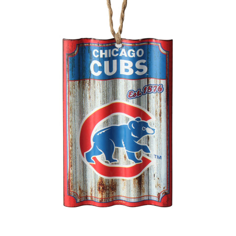 Chicago Cubs Corrugated Metal Ornament