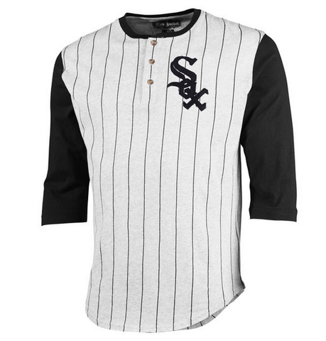 Men's Chicago White Sox Red Jacket Gray Double Play 3/4-Sleeve Raglan Henley T-Shirt