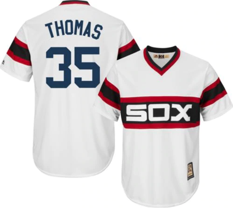 Majestic Men's Replica Chicago White Sox Frank Thomas Cool Base White Cooperstown 1983 Jersey