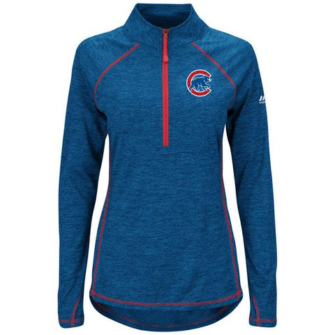 Women's Chicago Cubs Don't Stop Trying Half-Zip Pullover Jacket By Majestic