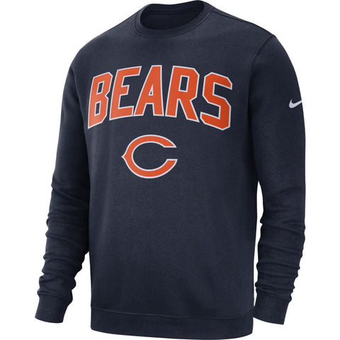 Men's Chicago Bears Classic Crew Neck Navy Nike Sweatshirt