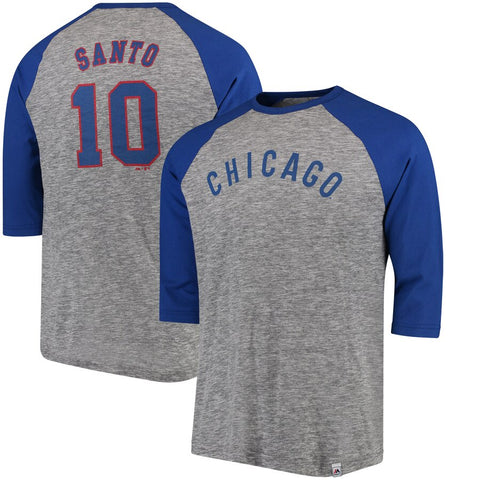 Men's Chicago Cubs Ron Santo Cooperstown Stirring Envy 3/4 Sleeve Raglan Tee