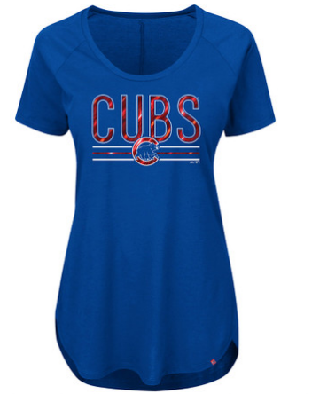 Women's Chicago Cubs Tough Decision Short Sleeve Tee By Majestic