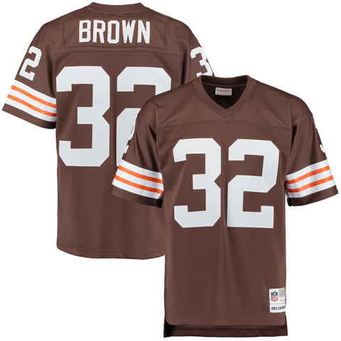 Men's Cleveland Browns Jim Brown Mitchell & Ness Brown Retired Player Replica Jersey