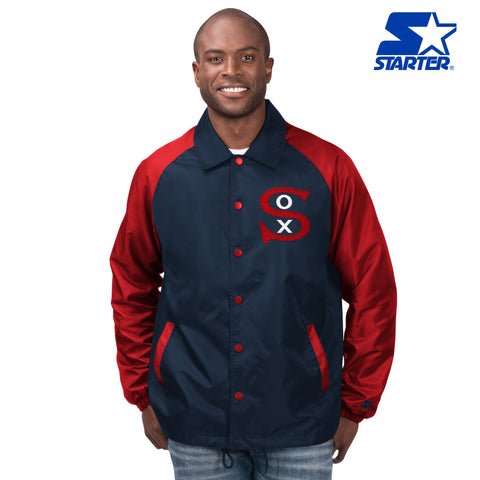 Men's Chicago White Sox 1917 Logo Full Zip Navy/Red Starter Jacket