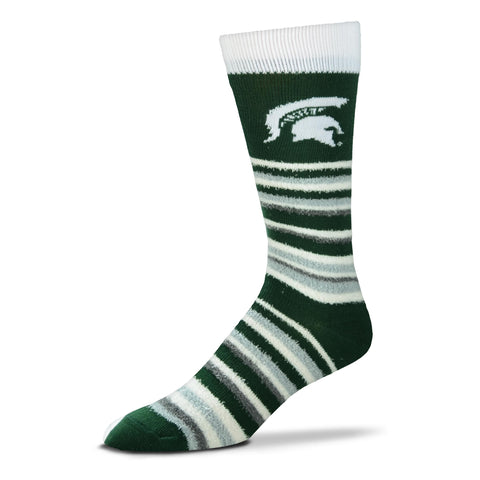 Men's Michigan State University Spartans Green/White FBF Muchas Rayas Sock