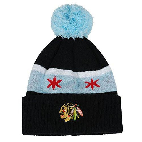 Chicago Blackhawks Youth Chicago Flag Cuffed Knit Pom