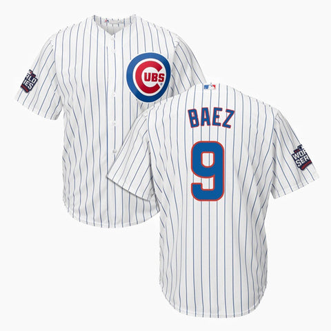 Javier Baez Chicago Cubs Youth Cool Base 2016 World Series Replica Home Jersey