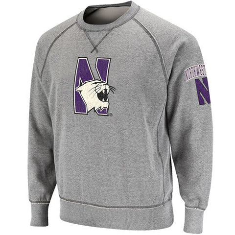 NCAA Northwestern Wildcats Ash Outlaw Crew Sweatshirt