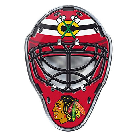 Chicago Blackhawks NHL Mask Colored Aluminum Car Auto Emblem - Pro Jersey Sports