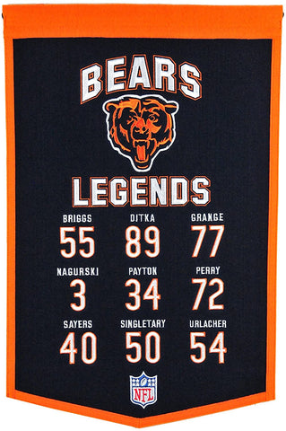 Chicago Bears Legends Banner By Winning Streak