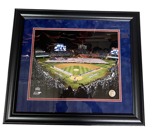 "Chicago Cubs Wrigley Field ""American Flag"" 2016 World Series 18"" x 21"" Framed Photo"