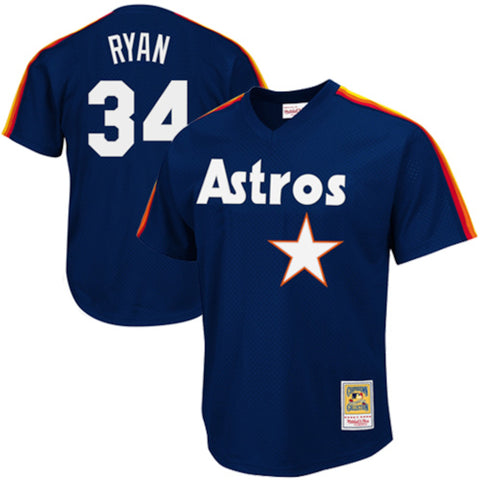 Men's Houston Astros Nolan Ryan Mitchell & Ness Navy 1988 Authentic Cooperstown Collection Mesh Batting Practice Jersey