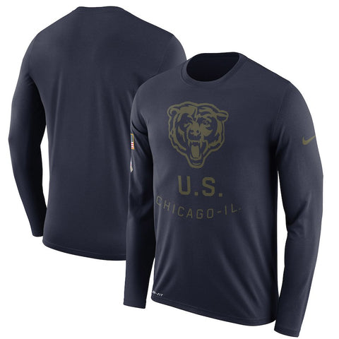 Men's Chicago Bears Nike Navy Salute to Service Sideline Legend Performance Long Sleeve T-Shirt