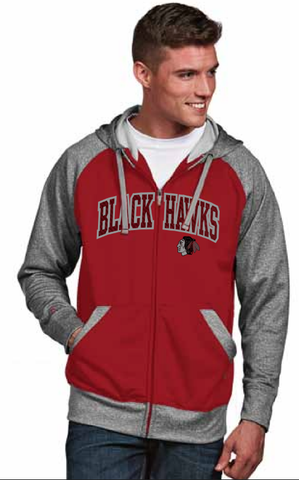 Chicago Blackhawks Strategy Full Zip Hoodie By Antigua