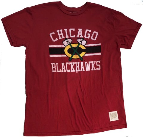 Men's Chicago Blackhawks Red Secondary Logo Bar Stripe Short Sleeve Tee