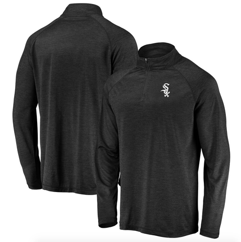 Chicago White Sox Fanatics Branded Iconic Striated Primary Logo Raglan Quarter-Zip Pullover Jacket - Black