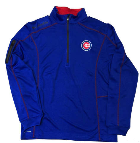 Men's Chicago Cubs Shotgun Omni-Wick 1/4 Zip Pullover Jacket-Red Trim