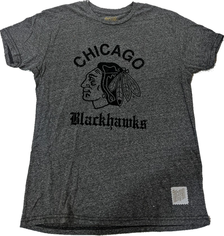Men's Chicago Blackhawks Old English Gray Textured Tri Blend Tee