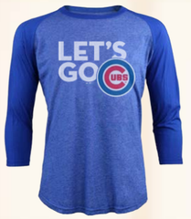 Men's Chicago Cubs Lets Go 3/4 Sleeve Triblend Raglan Tee By Majestic Threads