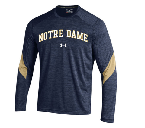Men's Under Armour Navy Notre Dame Fighting Irish Sideline Microstripe Performance Long Sleeve T-Shirt