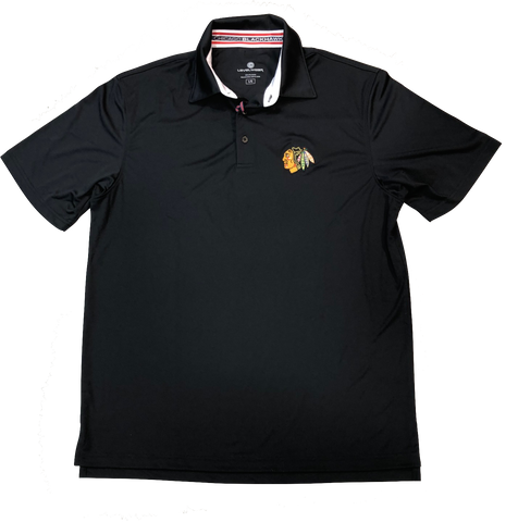 Chicago Blackhawks RPM Back Stripe Polo By Levelwear-Black