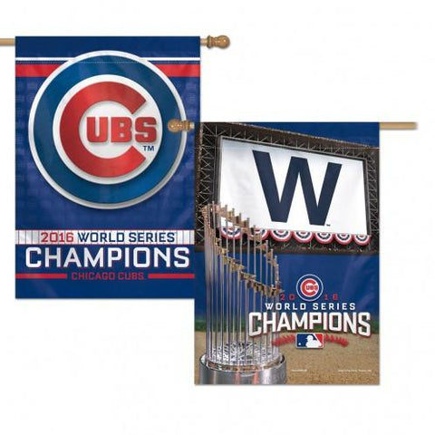 Chicago Cubs 2016 World Series Champions 28X40 Premium 2-Sided Vertical Flag
