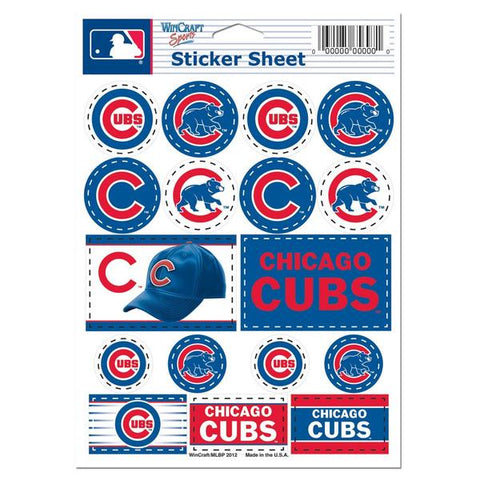 "Chicago Cubs Vinyl Sticker Sheet 5"" x 7"" By Wincraft"