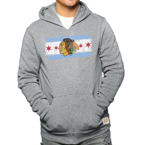Chicago Blackhawks Triblend Chicago Flag Hoodie