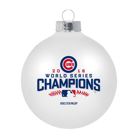 Chicago Cubs 2016 World Series Champions Large Glass Ball Ornament