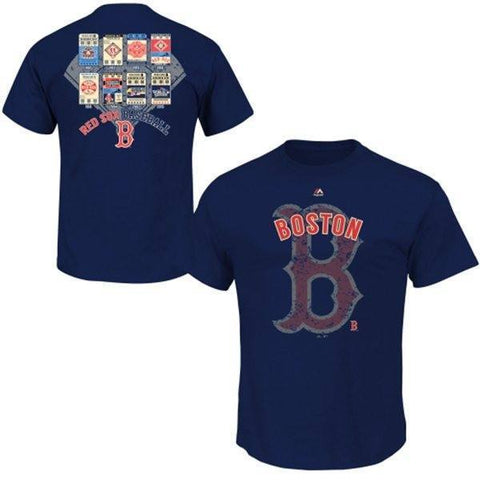 Majestic MLB Boston Red Sox Navy Blue Cooperstown League Domination T-Shirt