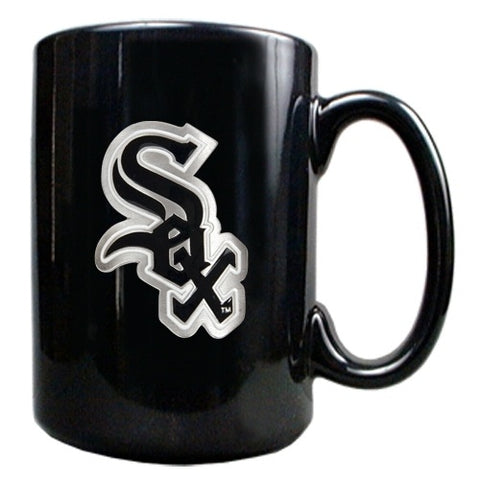 Chicago White Sox 15 oz. Black Ceramic Metal Primary Logo Emblem Mug