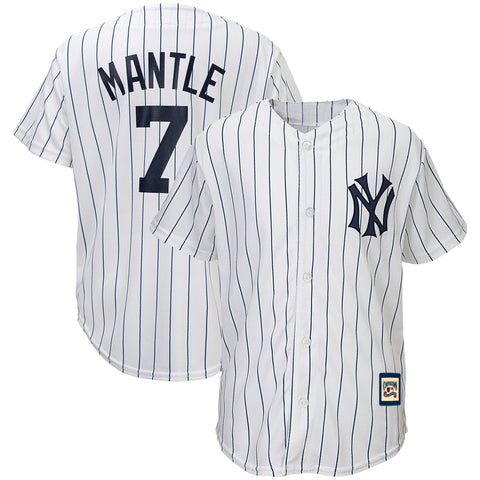 Youth New York Yankees Mickey Mantle White/Navy Cooperstown Collection Replica Player Jersey