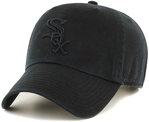 '47 Brand Chicago White Sox MLB Black On Black Tonal Clean Up Strapback Cap