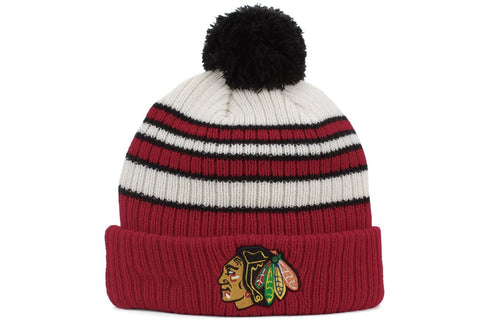 Chicago Blackhawks Traditional Stripe Knit Hat By New Era