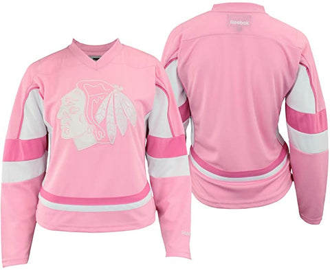 Youth Girls Chicago Blackhawks Pink Replica Player Jersey