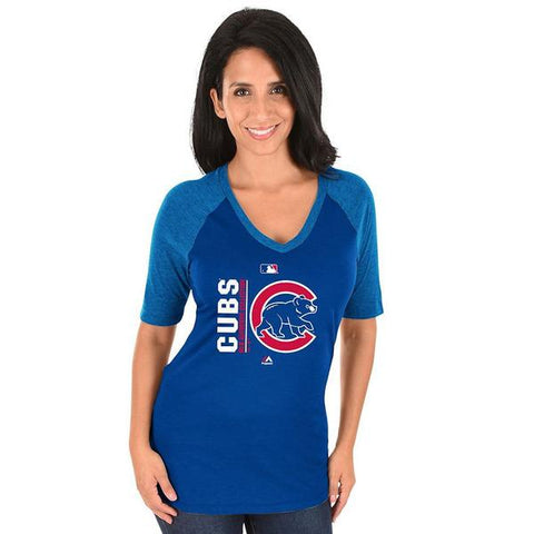 Women's Majestic Chicago Cubs Royal AC Team Icon Raglan Tee