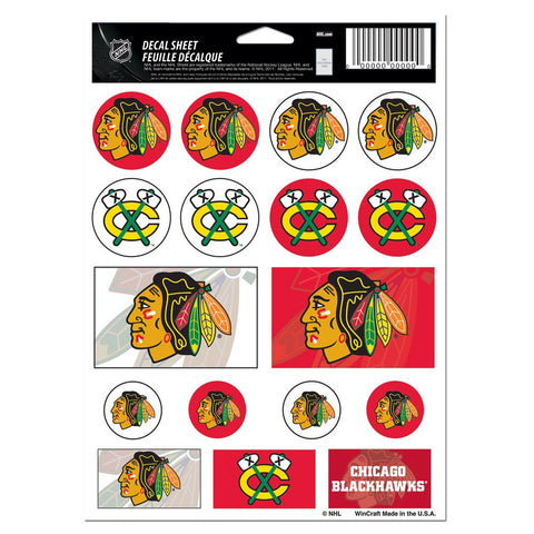 "Chicago Blackhawks Vinyl Sticker Sheet 5"" x 7"" - Pro Jersey Sports"